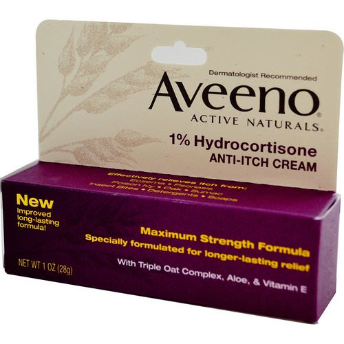 Aveeno, Active Naturals, 1% Hydrocortisone, Anti-Itch Cream, 1 oz (28 g) Review