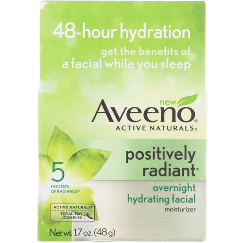 Aveeno, Active Naturals, Positively Radiant, Overnight Hydrating Facial Moisturizer, 1.7 oz (48 g) Review
