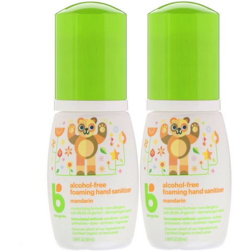 BabyGanics, Alcohol-Free, Foaming Hand Sanitizer, Mandarin, 2 Pack, 1.69 fl oz (50 ml) Each Review