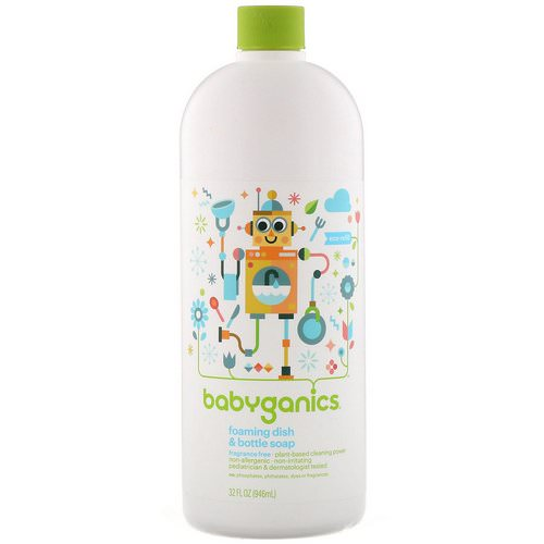 BabyGanics, Foaming Dish & Bottle Soap, Eco Refill, Fragrance Free, 32 fl oz (946 ml) Review
