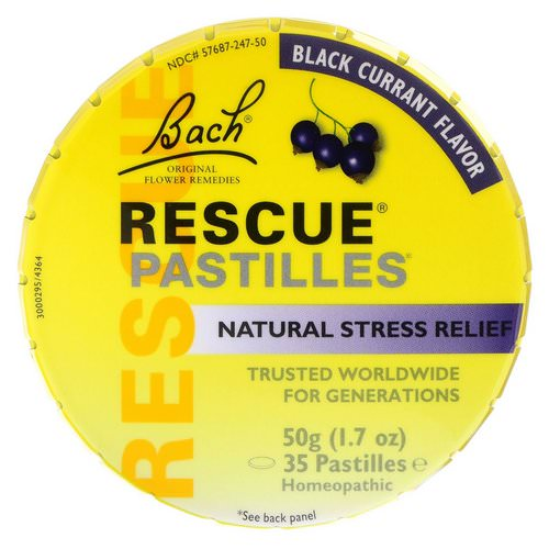 Bach, Original Flower Remedies, Rescue Pastilles, Natural Stress Relief, Black Currant Flavor, 1.7 oz (50 g) Pastilles Review