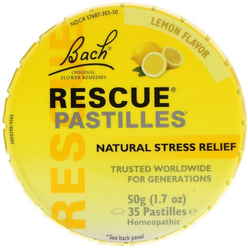 Bach, Original Flower Remedies, Rescue Pastilles, Natural Stress Relief, Lemon Flavor, 1.7 oz (50 g) Review