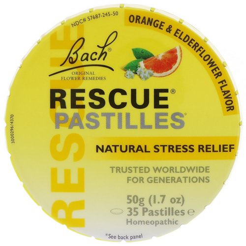 Bach, Original Flower Remedies, Rescue Pastilles, Natural Stress Relief, Orange & Elderflower, 35 Pastilles, 1.7 oz (50 g) Review