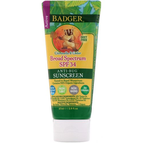 Badger Company, Anti-Bug Sunscreen, SPF 34 PA+++, Citronella & Cedar, 2.9 fl oz (87 ml) Review
