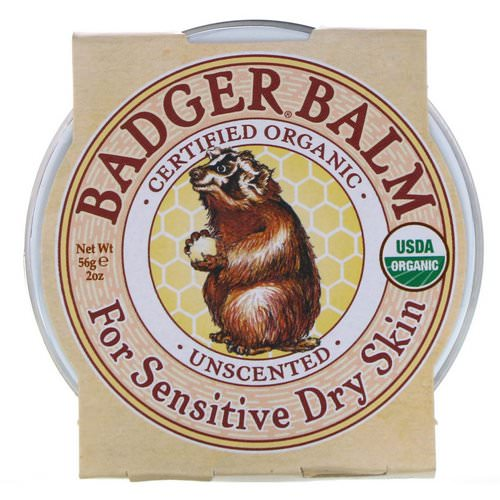 Badger Company, Badger Balm, For Sensitive Dry Skin, Unscented, 2 oz (56 g) Review