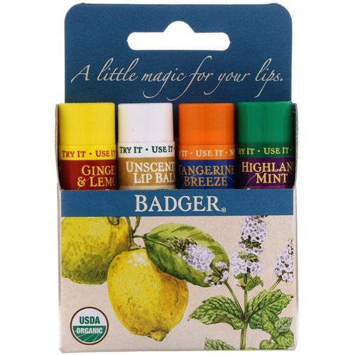 Badger Company, Organic Classic Lip Balm Sticks, Blue Box, 4 Lip Balm Sticks, .15 oz (4.2 g) Each Review