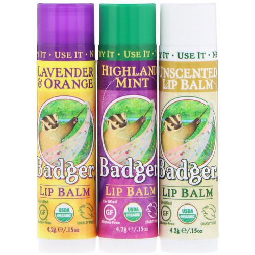 Badger Company, Lip Balm Gift Set, Green Box, 3 Pack, .15 oz (4.2 g) Each Review