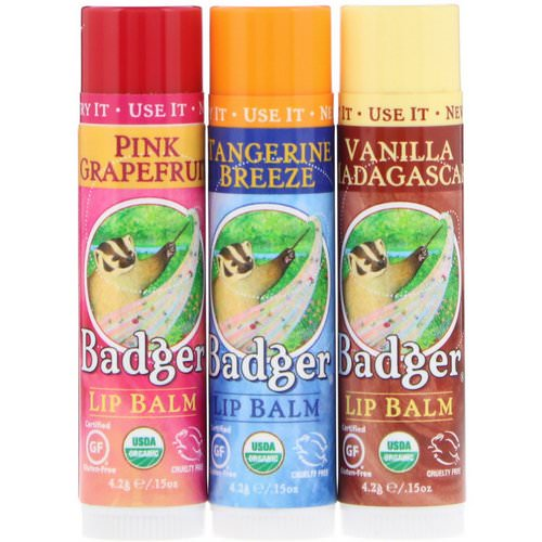 Badger Company, Lip Balm Gift Set, Red Box, 3 Pack, .15 oz (4.2 g) Each Review