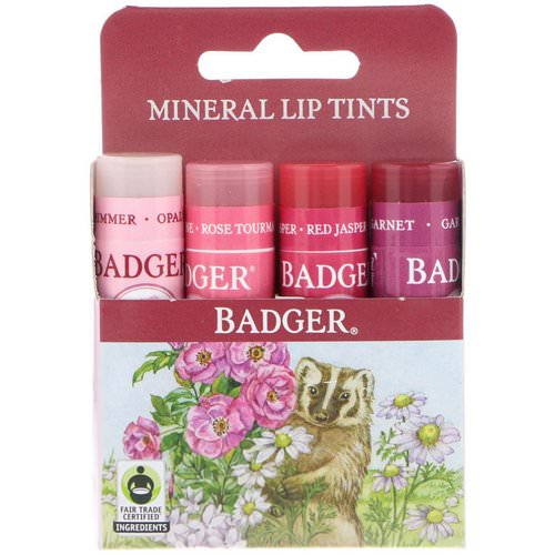 Badger Company, Mineral Lip Tints Set, 4 Pack, .15 oz (4.2 g) Each Review