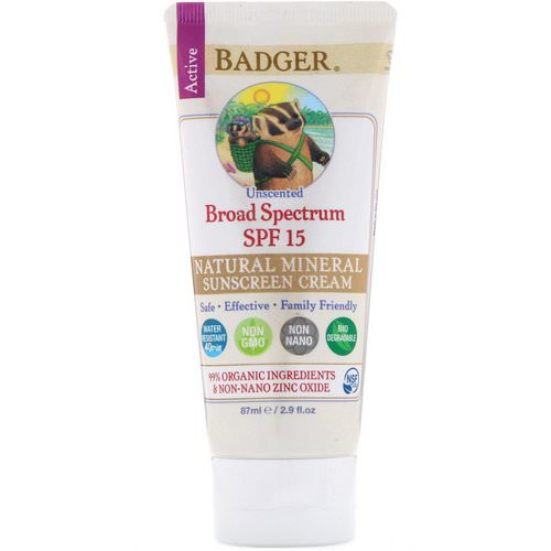 Badger Company, Natural Mineral Sunscreen Cream, Broad Spectrum SPF 15, Unscented, 2.9 fl oz (87 ml) Review