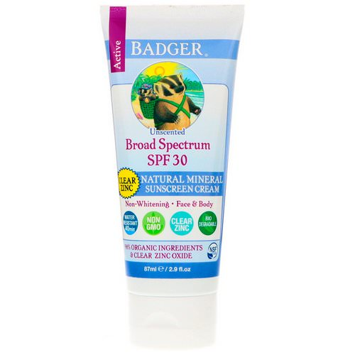 Badger Company, Natural Mineral Sunscreen Cream, Clear Zinc, SPF 30, Unscented, 2.9 fl oz (87 ml) Review