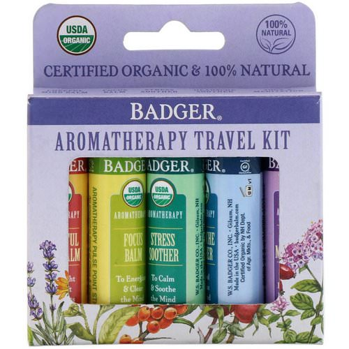 Badger Company, Organic, Aromatherapy Travel Kit, 5 Pack, .15 oz (4.3 g) Each Review
