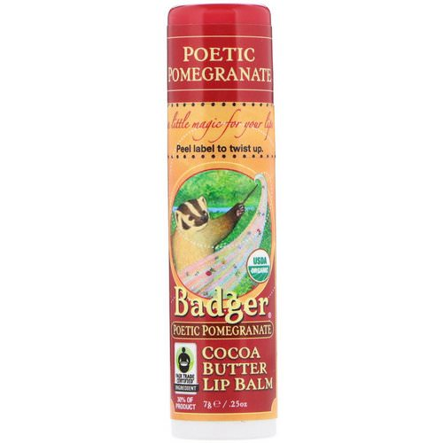 Badger Company, Organic, Cocoa Butter Lip Balm, Poetic Pomegranate, .25 oz (7 g) Review