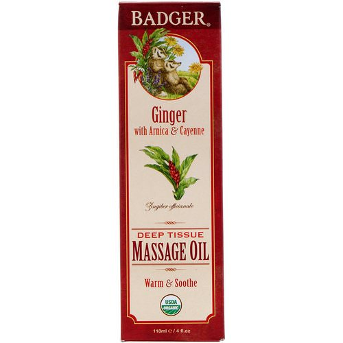 Badger Company, Organic, Deep Tissue Massage Oil, Ginger with Arnica & Cayenne, 4 fl oz (118 ml) Review