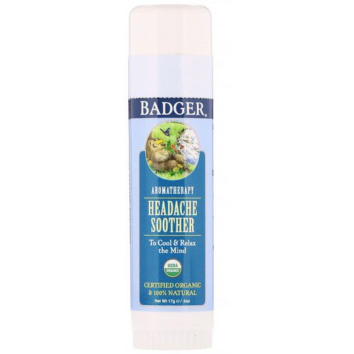Badger Company, Organic, Headache Soother, Peppermint & Lavender, .60 oz (17 g) Review