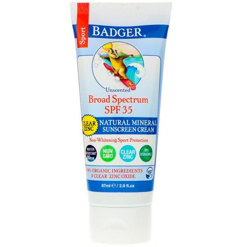 Badger Company, Sport, Natural Mineral Sunscreen Cream, Clear Zinc, SPF 35, Unscented, 2.9 fl oz (87 ml) Review