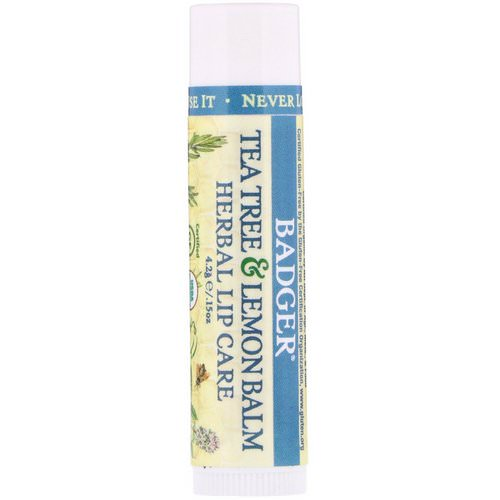 Badger Company, Organic, Tea Tree & Lemon Balm Herbal Lip Care, .15 oz (4.2 g) Review