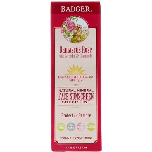 Badger Company, Natural Mineral Face Sunscreen, Sheer Tint, SPF 25, Damascus Rose, 1.6 fl oz (47 ml) Review