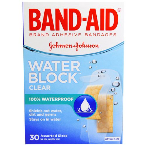 Band Aid, Adhesive Bandages, Water Block, Clear, 30 Assorted Sizes Review