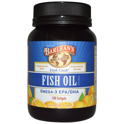 Barlean's, Fresh Catch, Fish Oil Supplement, Omega-3 EPA/DHA, Orange Flavor, 100 Softgels Review