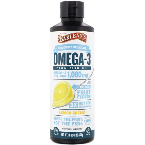 Barlean's, Omega-3, Fish Oil, Lemon Creme, 16 oz (454 g) Review