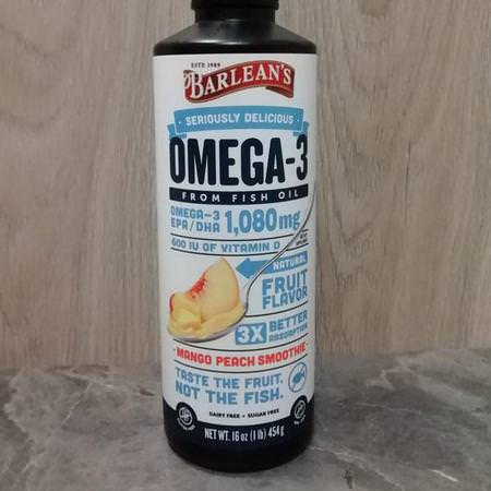 Barlean's, Seriously Delicious, Omega-3 Fish Oil, Mango Peach Smoothie, 16 oz (454 g) Review