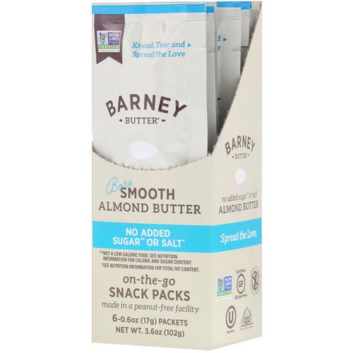 Barney Butter, Almond Butter, On the Go Snack Packs, Bare Smooth, 6 Packets, 0.6 oz (17 g) Each Review
