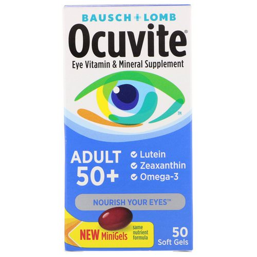 Bausch & Lomb, Ocuvite, Adult 50 +, Eye Vitamin & Mineral Supplement, 50 Soft Gels Review