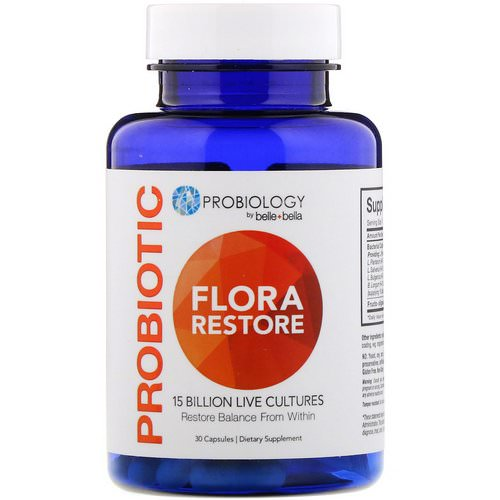 Belle+Bella, Probiology, Probiotic Flora Restore, 15 Billion CFU, 30 Capsules Review