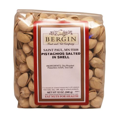 Bergin Fruit and Nut Company, Pistachios, Salted in Shell, 12 oz (340 g) Review