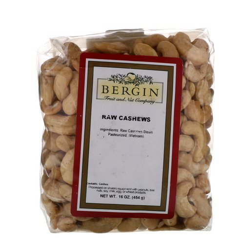 Bergin Fruit and Nut Company, Raw Cashews, 16 oz (454 g) Review