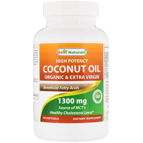 Best Naturals, High Potency Coconut Oil, Organic & Extra Virgin, 1300 mg, 90 Softgels Review