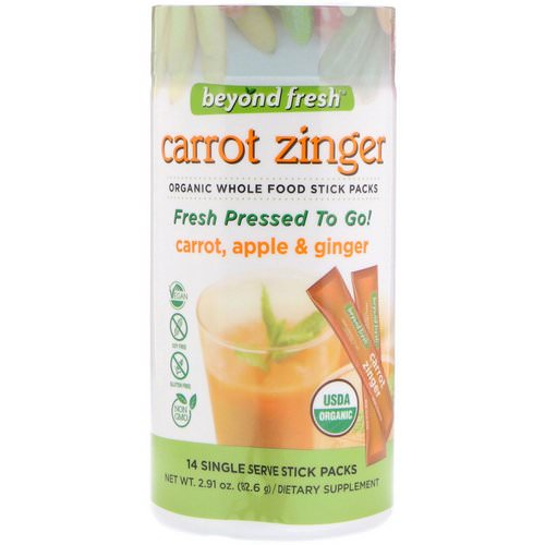 Beyond Fresh, Carrot Zinger, Carrot, Apple & Ginger, 14 Single Serve Stick Packs Review