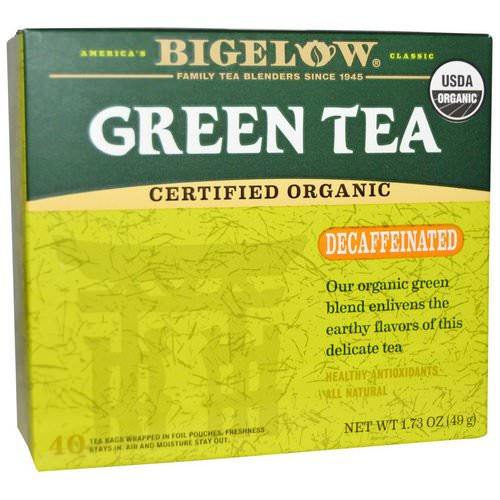 Bigelow, Organic Green Tea, Decaffeinated, 40 Tea Bags, 1.73 oz (49 g) Review