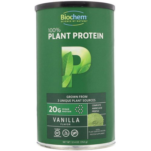Biochem, 100% Plant Protein, Vanilla Flavor, 12.4 oz (352 g) Review