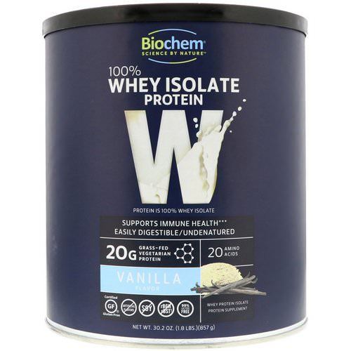 Biochem, 100% Whey Isolate Protein, Vanilla, 1.8 lbs (857 g) Review