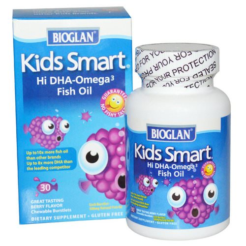 Bioglan, Kids Smart, Hi DHA-Omega 3 Fish Oil, Berry Flavor, 30 Chewable Burstlets Review