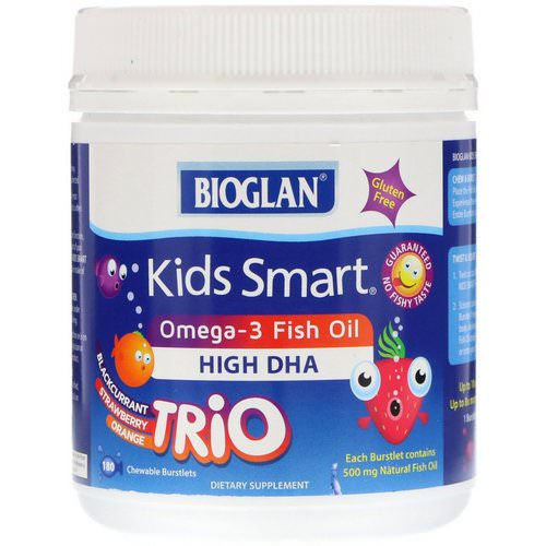 Bioglan, Kids Smart, Omega-3 Fish Oil, Trio Flavor, 180 Chewable Burstlets Review