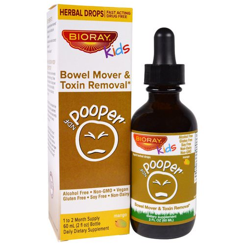 Bioray, NDF Pooper, Bowel Mover & Toxin Removal, Kids, Mango Flavor, 2 fl oz (60 ml) Review