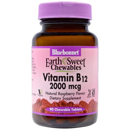 Bluebonnet Nutrition, EarthSweet Chewables, Vitamin B12, Natural Raspberry Flavor, 2,000 mcg, 90 Chewable Tablets Review