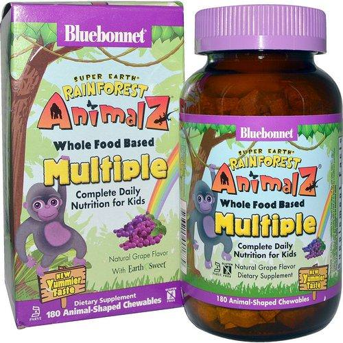 Bluebonnet Nutrition, Rainforest Animalz, Whole Food Based Multiple, Natural Grape Flavor, 180 Chewables Review