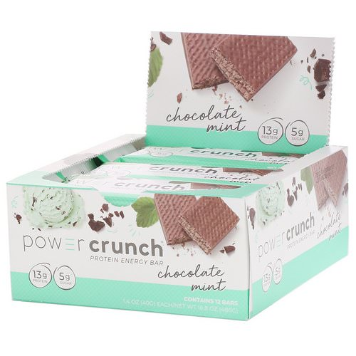 BNRG, Power Crunch Protein Energy Bar, Chocolate Mint, 12 Bars, 1.4 oz (40 g) Each Review