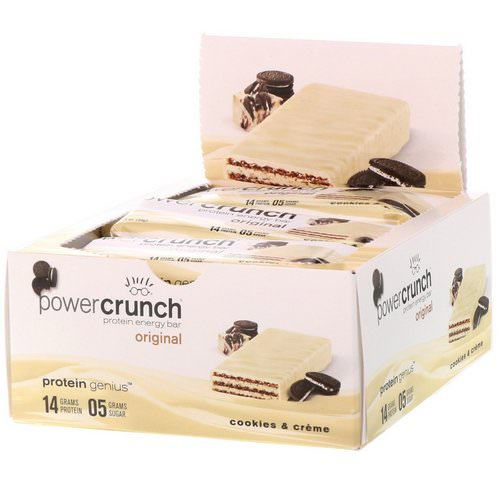 BNRG, Power Crunch Protein Energy Bar, Original, Cookies and Creme, 12 Bars, 1.4 oz (40 g) Each Review