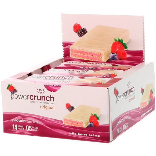 BNRG, Power Crunch Protein Energy Bar, Wild Berry Creme, 12 Bars, 1.4 oz (40 g) Each Review