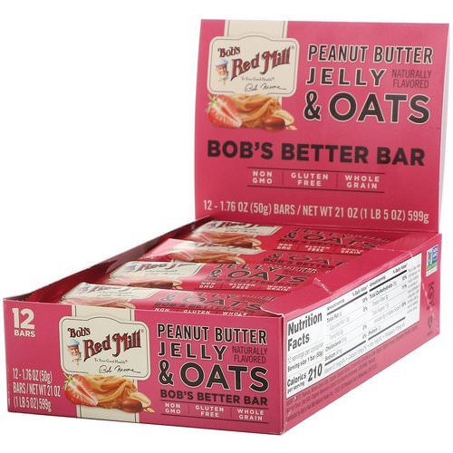 Bob's Red Mill, Bob's Better Bar, Peanut Butter Jelly & Oats, 12 Bars, 1.76 oz (50 g) Each Review