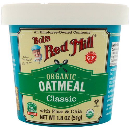 Bob's Red Mill, Organic Oatmeal Cup, Classic with Flax & Chia, 1.8 oz (51 g) Review