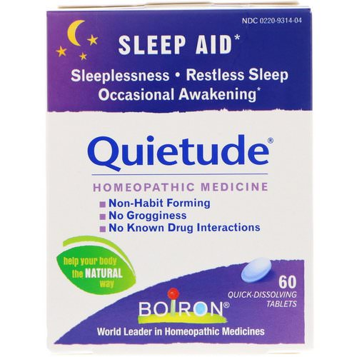 Boiron, Quietude, Sleep Aid, 60 Quick-Dissolving Tablets Review