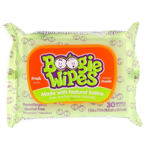 Boogie Wipes, Natural Saline Wipes for Stuffy Noses, Fresh Scent, 30 Wipes Review