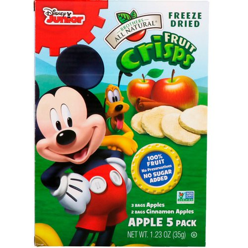 Brothers-All-Natural, Fruit Crisps, Disney Junior, Apples and Cinnamon Apples, 5 Pack, 1.23 oz (35 g) Review