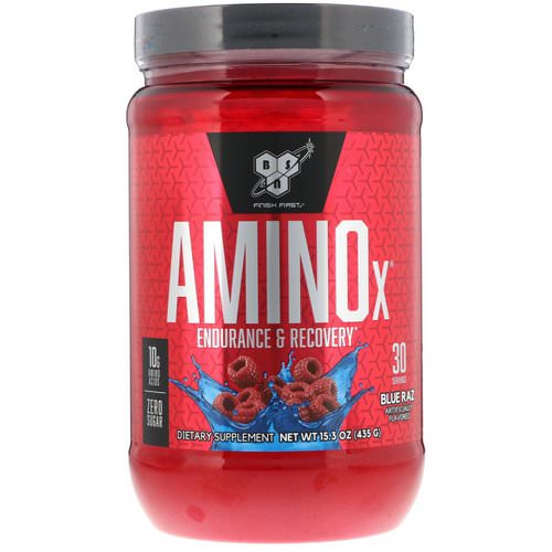BSN, Amino-X, Endurance & Recovery, Blue Raz, 15.3 oz (435 g) Review